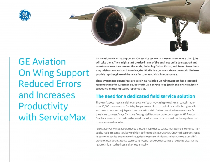 GE Aviation On Wing Support Reduced Errors and Increases Productivity with ServiceMax